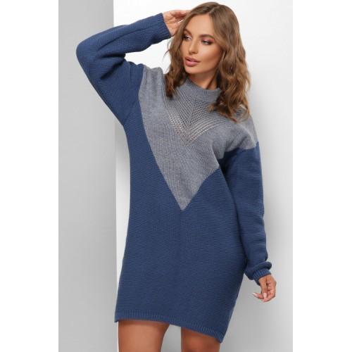 Жіноче в'язане плаття пряме осінь зима 2022 синє