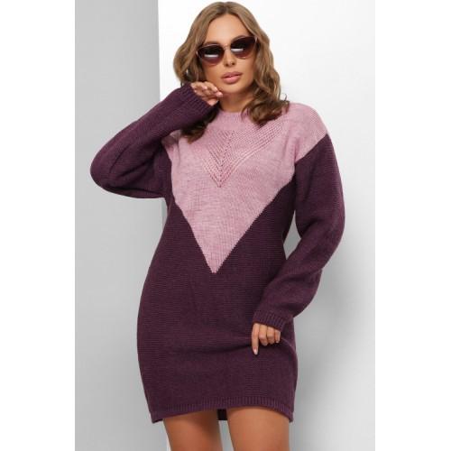 Жіноче в'язане плаття пряме осінь зима 2022 фіолет