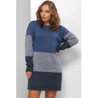 Сукня жіноча тепла Сукня- светр синя