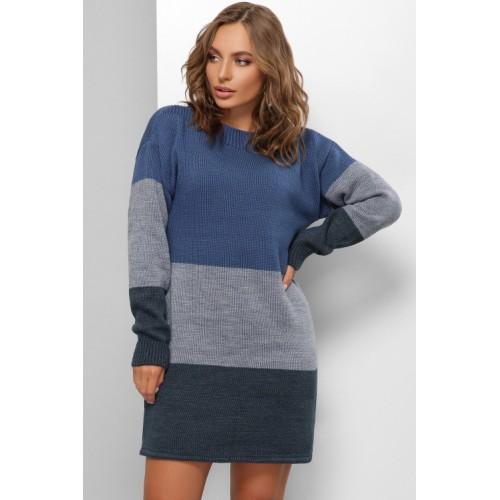 Сукня жіноча тепле Сукня- светр синя
