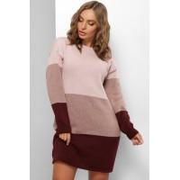Сукня жіноча тепла Сукня- светр пудра