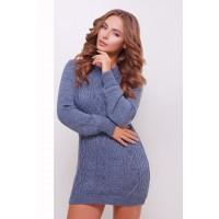 Жіноче в'язане плаття-туніка кольору світлий джинс  Подовжений светр в'язаний