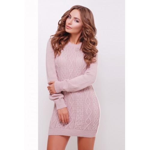 Жіноче в'язане плаття-туніка кольору пудра Подовжений светр в'язаний