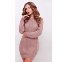Жіноче в'язане плаття-туніка кольору фрез Подовжений светр в'язаний