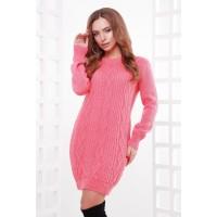 Жіноче в'язане плаття-туніка кольору корал Подовжений светр в'язаний