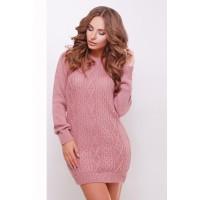 Жіноче в'язане плаття-туніка кольору рожеве Подовжений светр в'язаний
