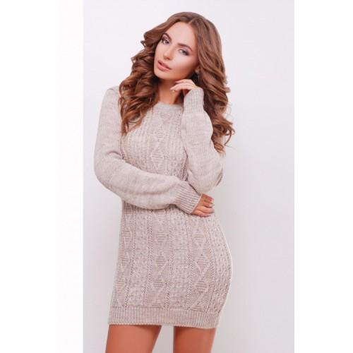 Жіноче в'язане плаття-туніка кольору капучино Подовжений светр в'язаний