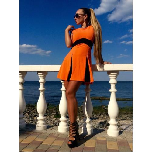 Модное женское платье оранжевое лето