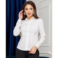 Жіноча сорочка базова з довгим рукавом біла
