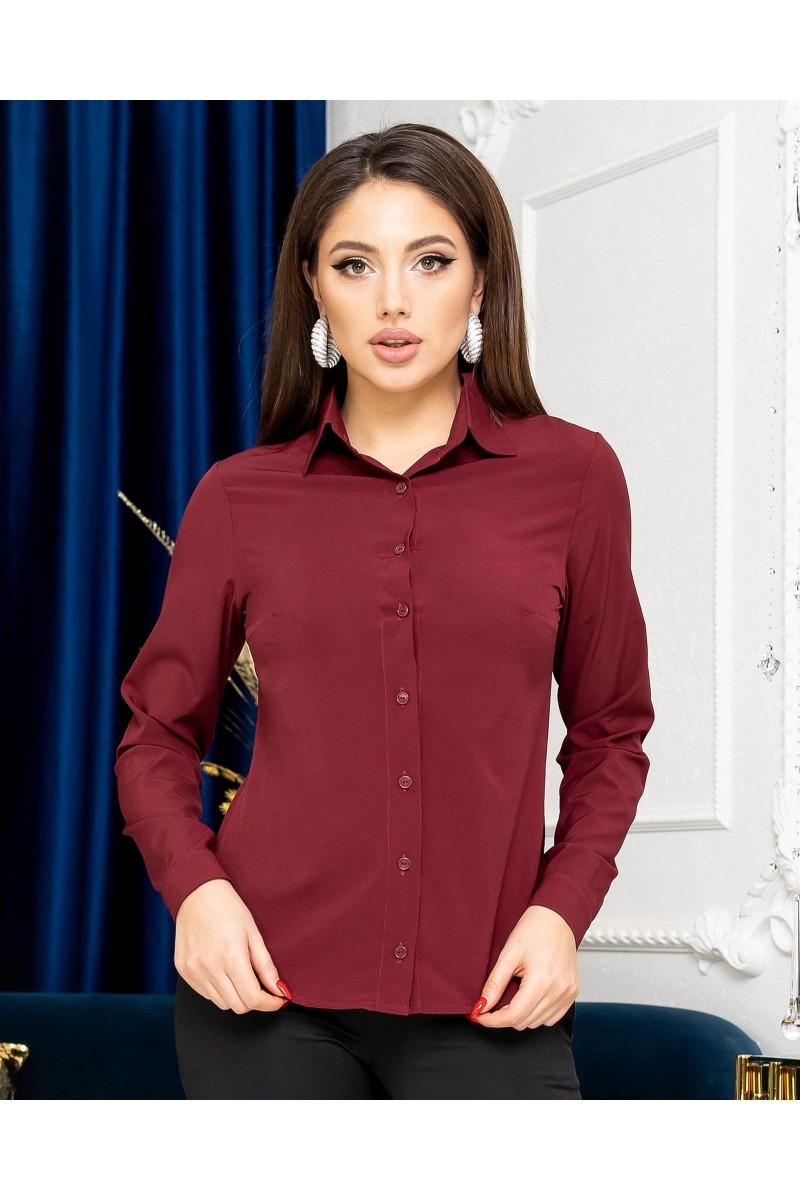 Жіноча сорочка базова з довгим рукавом бордо