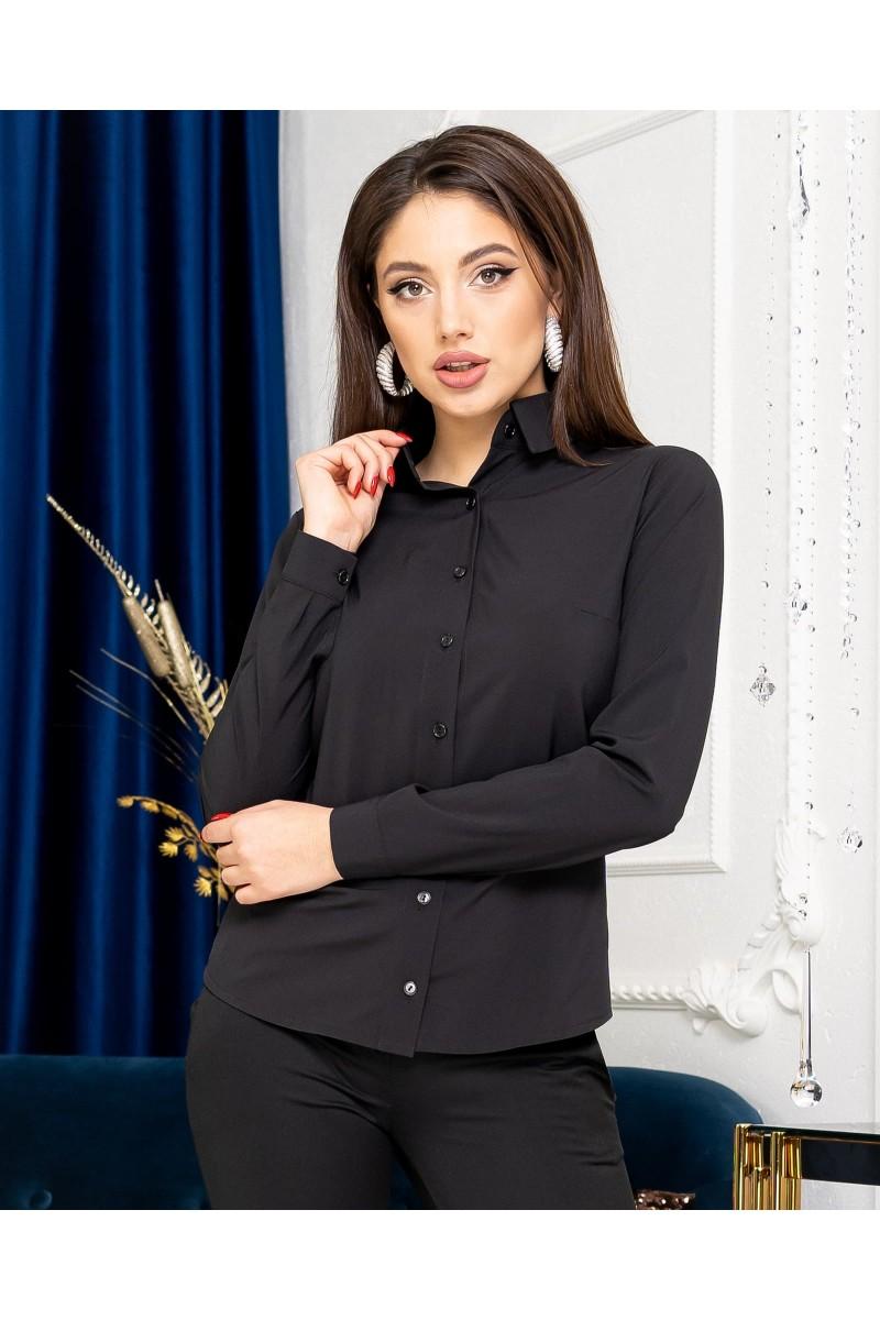 Жіноча сорочка базова з довгим рукавом чорна