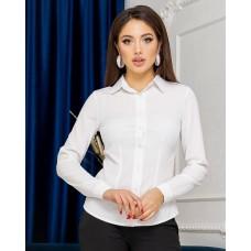 Жіноча сорочка базова з довгим рукавом молочного кольору